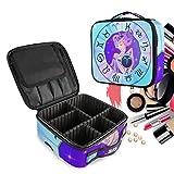 Zodiac Aries Chica Horóscopo Bolsa de Maquillaje Organizador de Cosméticos Portátil Estuche Mochila con Divisor Ajustable para Mujeres Niñas