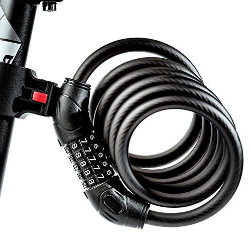 Mishuo パスワード ロック 自転車 鍵 5桁 電動 ロード バイク クロス バイク アクセサリー かぎ ワイヤーロック 持ち運び 紛失 長さ1800mm (180)