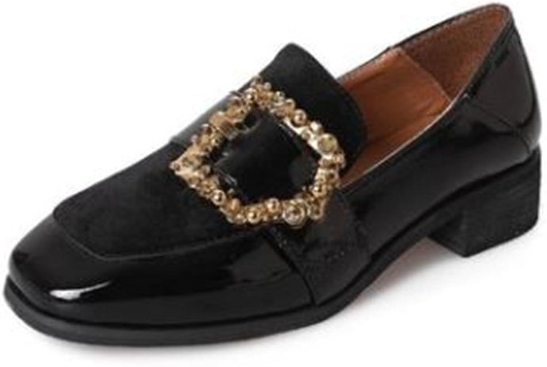 COLOV Women's Round Toe Low Heel Pumps shoes