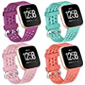 Faychey Bands Compatible with Fitbit Versa/Fitbit Versa 2/Versa Lite/Versa SE, 4-Pack Sport Soft Breathable Silicone Replacement Accessories Men Women(Plum,Orange,Teal,Sand Pink Small)