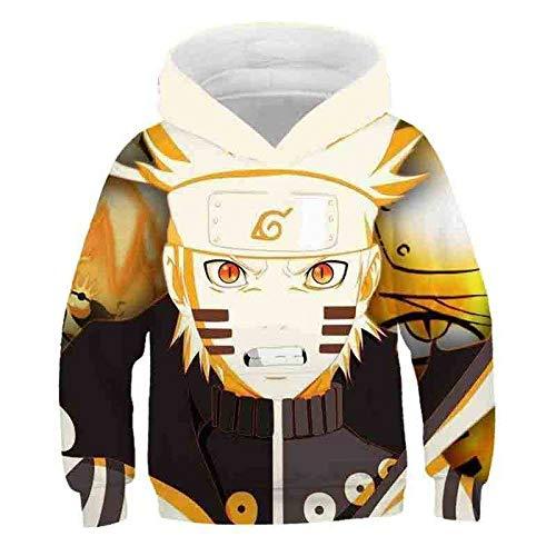IGWOC Hombre Mujer 3D Naruto Anime Series Sasuke Kakashi Anime Sudaderas con Capucha Disfraz Pareja Divertida Jersey Niños Niñas Tops con 2 Bolsillos-A_5XL