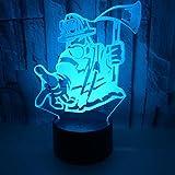 Tome Hacha Bombero 3d Color Táctil Control Remoto Gradiente Pequeña Luz Nocturna Regalo Led Pequeña Lámpara De Mesa