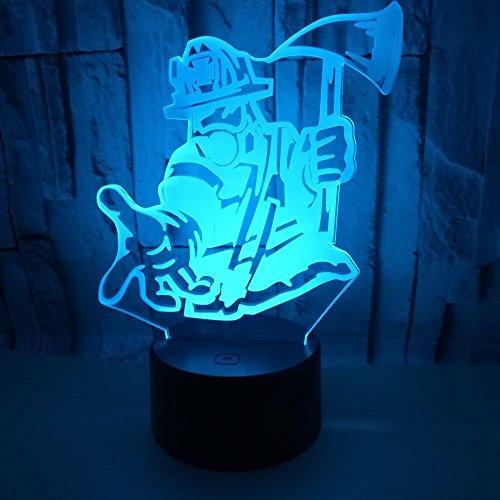 LED nachtlampje 3D illusie 7 kleurverloop nagels bijl brandweerman touch afstandsbediening kleurverloop kleine tafellamp kinderen cadeau