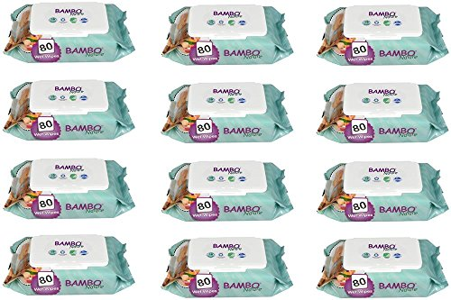 Toallitas Bebe Ecológicas Bambo Nature, Pack 12 Paquetes de 80 Uds (960 Toallitas)