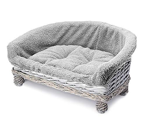 Tempar Luxury Handmade Half Moon Raised Wicker Cat Sofa Couch Cushion Bed - FREE Replacement Cushion and Cover (Medium, Light Grey)