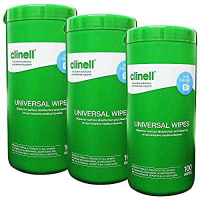 Clinell Universal Disinfecting Cleaning Medical Devices Equipment Surface Wipes Tub - Triple Tub Pack (100 Wipes per tub) by GAMA Healthcare