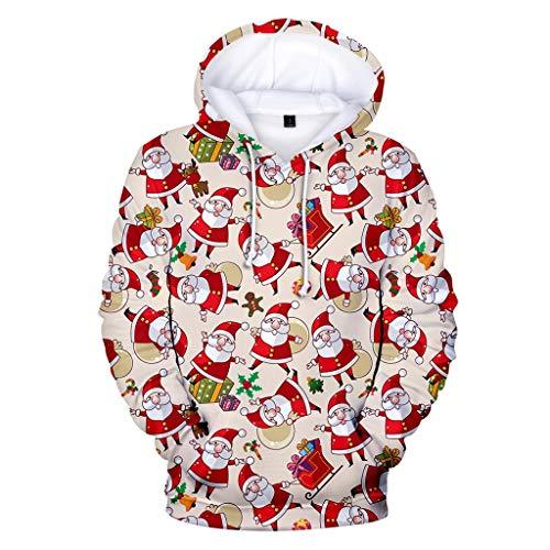 Shineshae Weihnachtspullover Unisex Pullover Kapuzenpullover Weihnachtspulli Weihnachtsmann Drucken Kostüm Weihnachts Hoodie Sweatshirt Langarm Weihnachten Kapuzenpulli Kapuzenjacke