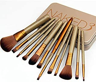12 pcs Naked 3 Makeup Goat Hair Brushes Set Kit