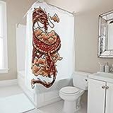 Sweet Luck Chinesisch Drache Wolke Duschvorhang Anti-Schimmel Wasserdicht Waschbar Stoff Vorhang Polyester Textil Badvorhänge mit Duschvorhangringen für Dusche White 91x180cm
