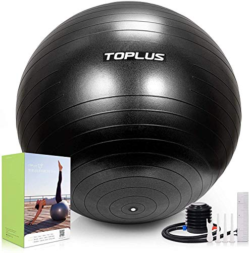 TOPLUS Exercise Ball Supports 2200lbs Includes Quick Pump & Professional Guide, 65 cm, Black