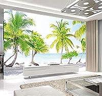 3D写真の壁紙カスタム大きな壁の壁画海辺のビーチココナッツの木リビングルームの壁紙のための自然な背景の壁紙-400x280cm