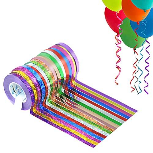 Andiker Colorati Nastri per Pacchi di Regalo, 5MM Nastri per Palloncini con Corde Arricciate 186 yarde, 17 Rotoli di Nastri Laser per Artigianato, Decorazioni per Matrimoni o Feste di Compleanno(17)