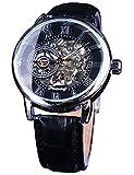 Forsining Mechanical Wristwatch Retro Roman Number Display Transparent Skeleton Dial