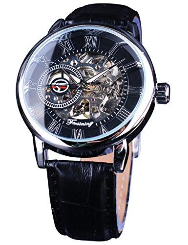 Forsining mecánico reloj de pulsera Retro número romano pantalla transparente esqueleto Dial