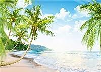 LB 写真撮影用 背景布 2.1×1.5m/7x5ft 椰子の木と海 自然風景 ビーチ 写真撮影 バックペーパー 大判 人物/商品撮影 背景シート 撮影スタジオ用 アイロンかけ可 折り畳み可 新婚撮影 簡易スタジオ