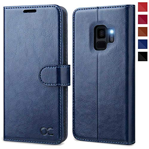 """OCASE Coque Etui Samsung Galaxy S9, Antichoc TPU Housse en Cuir Premium PU Portefeuille [Béquille] [Fentes pour Cartes] [Fermoir Magnétique] Protection pour Galaxy S9 (5,8"""") - Bleu"""