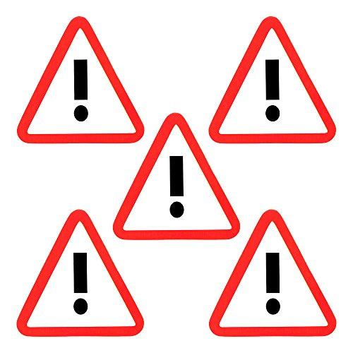 5 Ausrufezeichen Magnete 6 x 5 cm für Magnettafeln, Kühlschränke, Plantafeln und Whiteboards - Gefahr Vorsicht Verkehrszeichen Magnet.