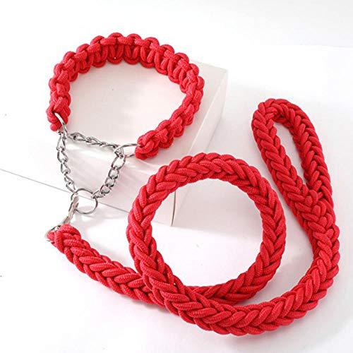 FHNLKFS Nueva Cuerda de Doble Cadena Cuerda de tracción para Perros Grandes Hebilla de Cadena de Metal Color Collar de Cuerda de tracción para Mascotas Conjunto Perro Grande-Rojo_Metro