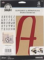 Plaid PLA50321 Stencil Folk-Art Paper Alphabet & Monogram Italic, 20cm