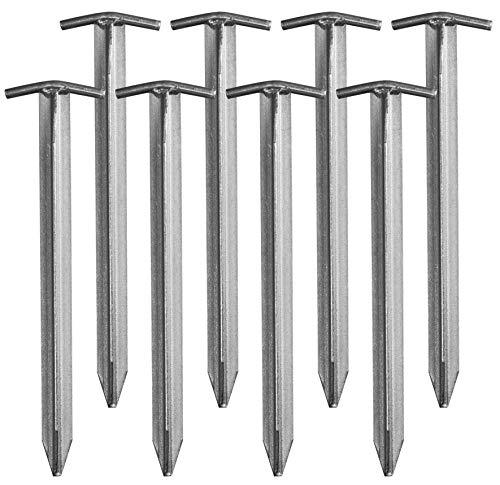 CampAir T-Profil Zelt-Heringe aus verzinktem Stahl, Extra lang 40 cm, Set mit 8 Stück