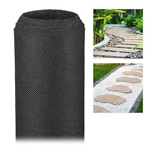 Relaxdays Unkrautvlies, 50 g/m², 5 m, Pflanzenschutz, wasserdurchlässig, UV-beständig, starkes Gartenvlies, schwarz