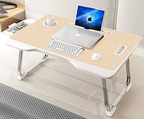 YOODI Mesa para ordenador portátil, plegable, redonda, con ranura para tablet y soporte para bebidas, para libros, sofá con cajón