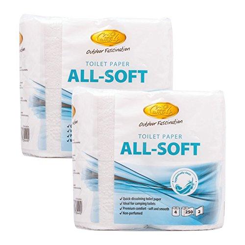 Camp4 All Soft toiletpapier, speciaal voor campingtoiletten 8 rollen, ideaal voor caravans en campers
