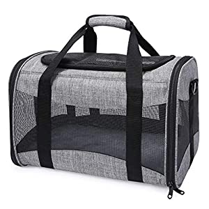BEELIKE Dog Carriers for Small Dogs Soft-Sided Small Dog Travel Carrier with Mesh Windows and Fleece Padding Breathable Cat Carrier Bag Fit for Airplane Under Seat for Kittens Puppies and Small Dogs