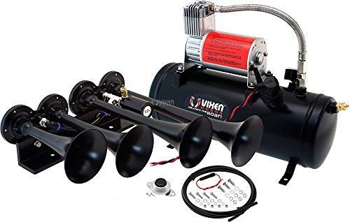 Vixen Horns Train Horn Kit for Trucks/Car/Semi. Complete Onboard System- 150psi Air Compressor, 1.5 Gallon Tank, 4 Trumpets. Super Loud dB. Fits Vehicles Like Pickup/Jeep/RV/SUV 12v VXO8530/4124B
