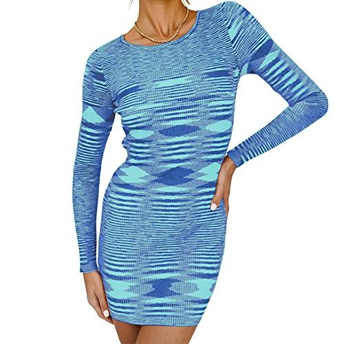 Qtinghua - Vestito sexy da donna, elegante, a maniche lunghe, scollo rotondo, con stampa geometrica astratta, Blu, S
