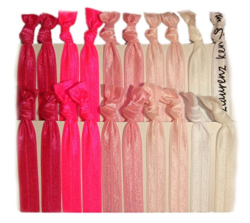 Hair Ties Ponytail Holders - 20 Pack'Pink Ombre' No Crease Ouchless Elastic Styling Accessories Pony Tail Elastics Holder Ribbon Bands - By Kenz Laurenz