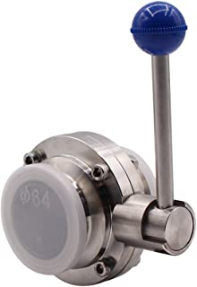 DERNORD Sanitary Butterfly Valve with Pull Handle Stainless Steel 304 Tri Clamp Clover (2