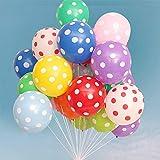 Leixi Bunte Latex-Luftballons mit Punkten, 30,5 cm, 100 Stück, sortierte bonbonfarbene Party-Luftballons für Hochzeit, Abschluss, Geburtstag, Weihnachten, Babyparty, Party-Dekoration – Mehrfarbig