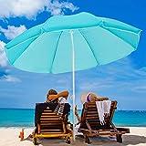 VOUA 6.5ft Beach Umbrella with Sand Anchor & Push Button Tilt Portable Patio Sunshade Umbrella Outdoor Umbrella with Carry Bag UV Protection for Patio Garden Beach Pool Backyard, Sky Blue