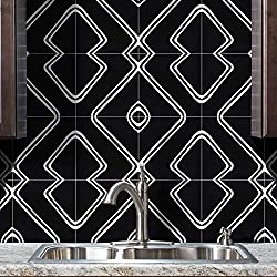 Moroccan Mosaic & Tile House CTP68-02 Chawen Handmade Cement Tile in Black and White