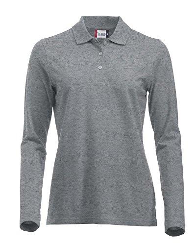 Langärmliges, klassisches Polo-Shirt für Damen, Baumwolle, moderne Passform, 11lebendige Farben, XS-XXL Gr. S, grey melange