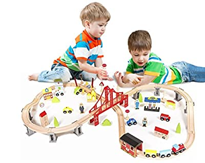 Pidoko Kids Wooden Train Set - City Railway Super Highway 70 Pieces - Tracks Compatible with all major brands by Pidoko Kids