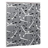 Rideau de Douche Hockey Sticks Pucks Gray Black White Shower Curtain Liner60x72 in Curtain for Bathroom Bathtub DecorWaterproof Bath Curtain Sets with Hooks (Plastic)