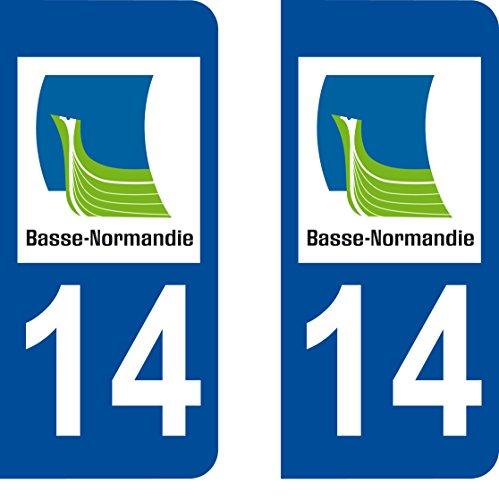 Safirmes 2 Aufkleber 14 Calvados Normandie Nummernschild für Département Auto 14: abgerundete Ecken