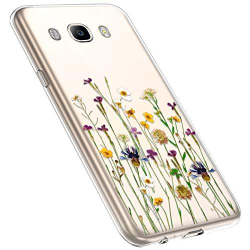 MoreChioce kompatibel mit Samsung Galaxy J5 2016 Hülle,Galaxy J5 2016 Handyhülle Blume,Ultra Dünn Transparent Silikon Schutzhülle Clear Crystal Rückschale Tasche Defender Bumper,Blumenzweig #26