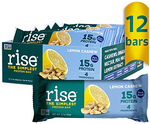 Rise Pea Protein Bar, Lemon Cashew, Soy Free, Paleo Breakfast & Snack Bar, 15g Protein, 4 Natural Whole Food Ingredients, Simplest Non-GMO, Vegan, Gluten Free, Plant Based Protein, 12 Pack