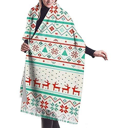 Elaine-Shop Medias navideñas Bufandas ligeras grandes y coloridas de mujer Pashmina Chales Wraps Light