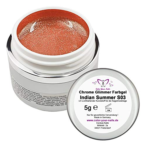5g Chrome Farbgel Indian Summer (S03) UVGel made in Germany Chromeglamgel, Nails UVGel Nailart