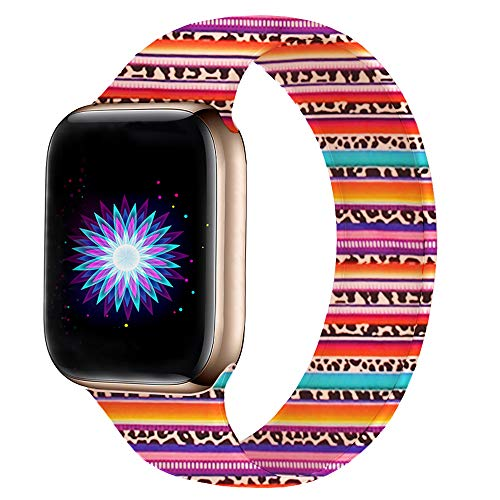 Bertiveny Silicone Band Compatible with Apple Watch Band 38mm 40mm 42mm 44mm Women Sports Strap Replacement for Iwatch Band Series 4 3 2 1 Double Side Print (Serape Leopard, 38MM/40MM-S/M)