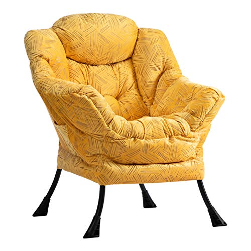 AbocoFur Modern Large Cotton Fabric Lazy Chair,Accent Contemporary Lounge Chair, Single Steel Frame Leisure Sofa Chair with Armrests and A Side Pocket, Gilding Brilliant Yellow