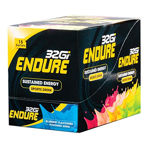 32Gi Endure Sports Drink Powder Mix for Sustained Energy, Improve Performance, Reduce Fatigue - Vegan, All Natural, Kosher, Blueberry (15 x 50gram Sachets)