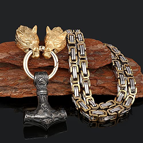 Serired Collar con Colgante Martillo Vikingo Thor, Collar Cadena Nordic Odin Celtic Wolf King, Joyería Regalo Amuleto Pesado Acero Inoxidable Vintage para Hombre,Negro,70cm