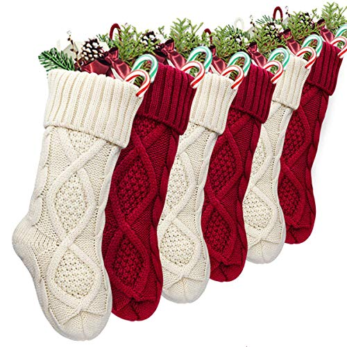 LimBridge Christmas Stockings, 6 Pack 15 inches Small Size Cable Knit Knitted Xmas Rustic Personalized Stocking Decorations for Family Holiday Season Decor, Cream or Burgundy