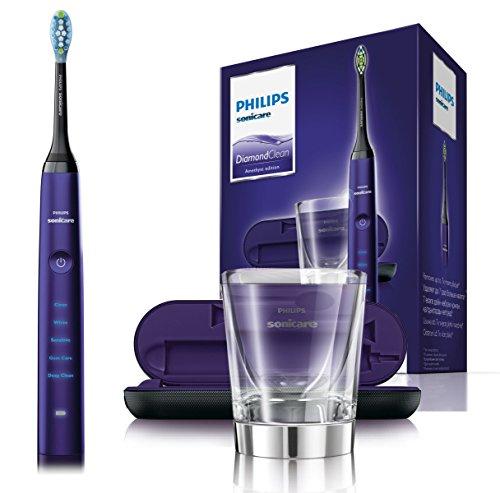 Philips Sonicare DiamondClean Elektrische Zahnbürste HX9379/89 - Schallzahnbürste mit 5 Putzprogrammen, Timer, USB-Reise-Ladeetui & Ladeglas – Violett