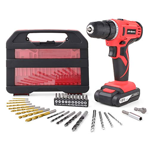 HiSpec 18V Pro Cordless Combo Drill Driver with 1500 mAh LithiumIon Battery 2 Gears 19 Position Keyless Chuck Variable Speed Switch amp 30pc Drill and Screwdriver Bit Accessory Set